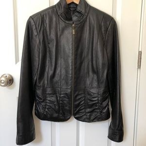 Vintage Leather jacket with rouching M